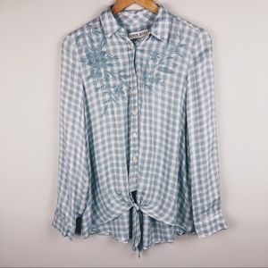 KNOX ROSE Floral Embroidered Plaid Button Down